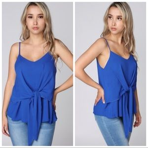 NEW Royal Blue Tie Front Layered Top